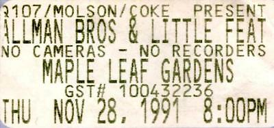 ALLMAN BROTHERS BAND TICKET STUB 1991 Maple Leaf Grdns, Toronto with Little Feat
