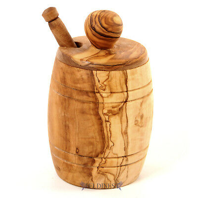 Sale! Olive Wood Honey Pot Wooden Jar with Lid and Honey Dipper
