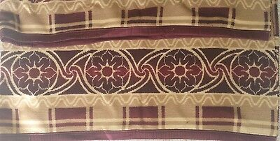 "ANTIQUE BURGUNDY TAN WOOL FLEECE Blanket Textile Large 68"" x 82""  Plaid"