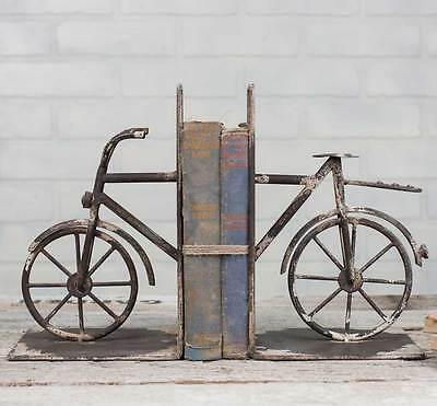 Antique Vintage Pair of Decorative Bicycle Metal Bookends Library Book Case Bike