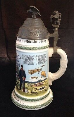 German Porcelain Air Regimental Stein/Mug With Pewter Lid & Lithophane Bottom