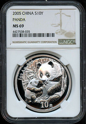 2005 China Panda 1oz MS 69 10 Yuan Silver Coin NGC
