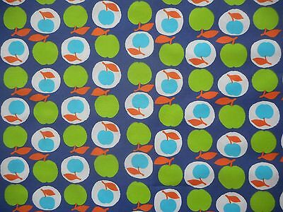 Unused vintage retro 60's 70's polycotton dress fabric, 1 yard lengths - apples