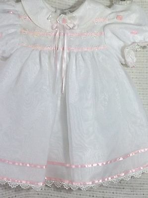 Vintage Taffeta Baby Dress 18 Months White Pink Rare Editions Union Made USA