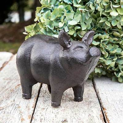 Vintage Cast Iron Piglet Garden Decor Statue Lawn Ornament Metal Pig Sculpture