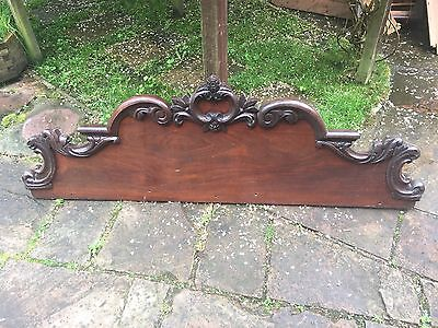 Antique Victorian Solid Carved Mahogany Chiffonier Back - Bed Head or Shop Sign?
