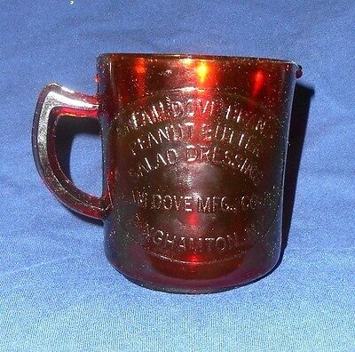 Red Cream Dove Peanut Butter Advertising Ny Measure Cup Depression Style Glass