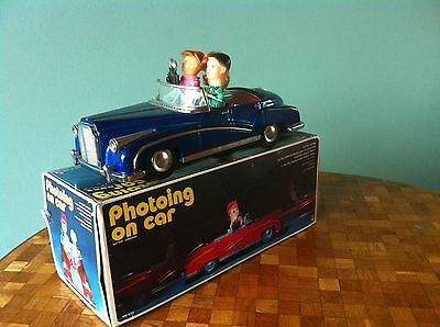 photoing on car blau funktionstüchtig Auto Photographin Tin Toy Blech ovp