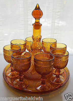 Tiara Indiana Glass Amber Sandwich Tray Goblets Decanter 11 piece Wine Set