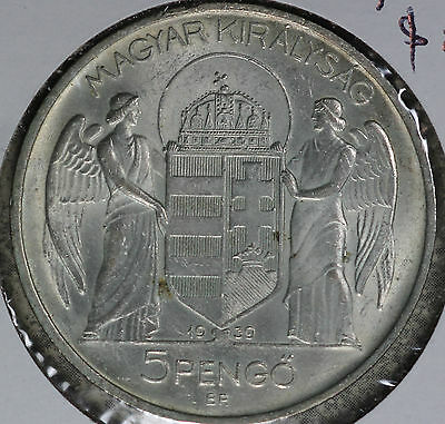 Nice Almost Uncirculated/Slider 1939 Hungary 5 Pengo Silver Coin