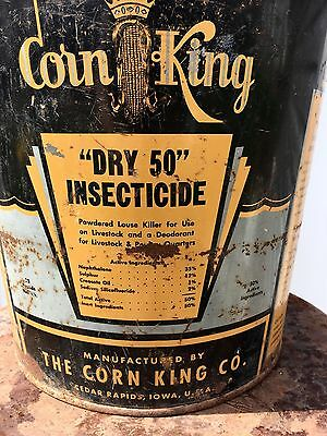 Vtg Corn King Bucket Pail Farm Sign Feed Seed Tractor Dry Advertising Tractor