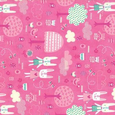 Moda Fabric Spring Bunny Fun The Great Hunt Geranium Per 1//4 Metre