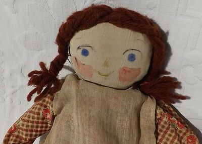 OLD Antique Handmade Early Raggedy Cloth Rag Doll Yarn Hair Floral Dress Clothes