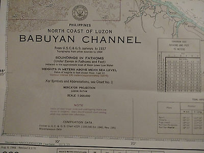 Antique Vintage US Navy Nautical Chart Aeronautical Map Babuyan Chan PHILIPPINES