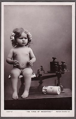 "14x9cm standard size real photographic postcard Rotary Photo Baby ""weighting"""