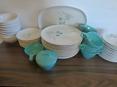 Melmac dinneware 8-10 place setting blue aster 56 pc's Westinghouse USA