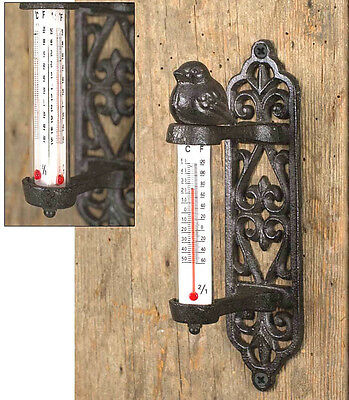 Cast Iron Metal Songbird Hanging Wall Thermometer Outdoor Yard Lawn Garden Decor