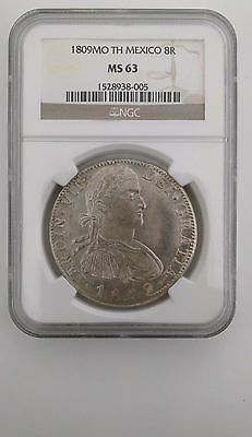 1809 Mexico Ferdinand VII 8 Reales NGC MS63 Mo-TH Colonial Silver