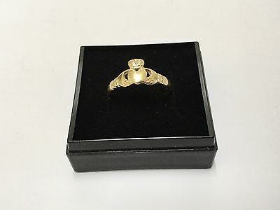 9ct Gold Irish Claddagh Ring Full UK Hallmaks for Sheffield 1997