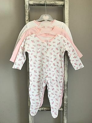3 X Baby Girl Sleepsuits Size 3-6 Months Whie Pink Heart Floral Mummy Babygrow