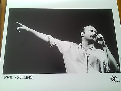 Very Rare Promo Real Photograph B&W Phil Collins Live on Stage Shot