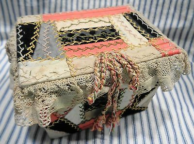 Antique Sewing Box Handmade Embroidered Crazy Quilt