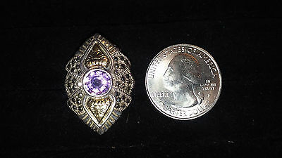 Vintage Art Deco Sterling Silver Ring with Amethyst, Marcasite & 18K gold Accent