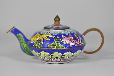 Fine Vintage China Chinese Painted Enamel On Copper Teapot Scholar Art