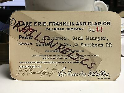 1916 LAKE ERIE FRANKLIN and CLARION Railroad Pass #43 PA 15 miles