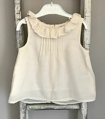 Baby Girl Next Top Size 18-24 Months White Ruffle Collar Floaty Summer Blouse