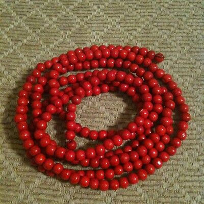 Primitive Wooden Red Beaded 9' Christmas Tree Garland EUC