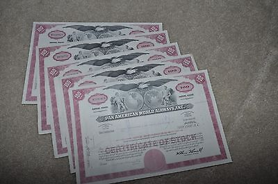 Pan American World Airways Stock Certificates (lot of 5, 100 Share)