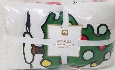 NEW Pottery Barn Teen SNOOPY Peanuts Full Queen QUILT pbteen Charlie Brown