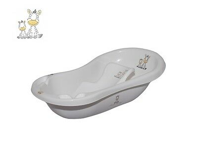 Zebra Baby Newborn 2pc Bath Tub with plug Set with Bath Support anti slip White
