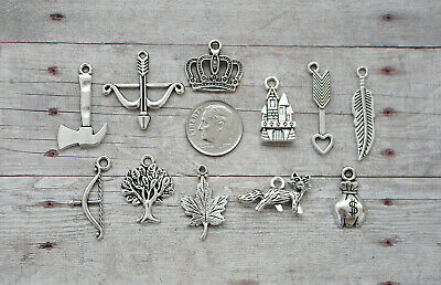 11pc or 5pc Robin Hood Charm Set Lot Collection / Bow & Arrow, Feather, Fox,Tree