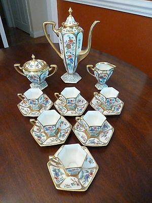 Important Handpainted Signed Pickard China Asian Chinese Chocolate Set Chicago