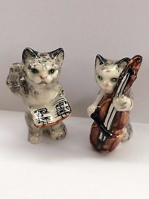 Vintage Porcelain Cat Figurines Musical Cats Cello  Music Conductor Fiddle