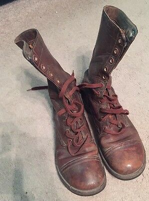 Vintage Korean War - 1950's- Brown Leather Combat War Men's Boots 9.5 EE