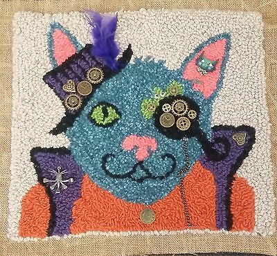 "Rug Hooking STEAM PUNK KITTY FINISHED PROJECT - 16"" x 18"""