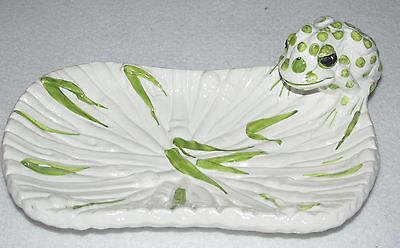 "Vintage Italian Dish (Pottery) with Frog ~ Mieselman Imports ~ 8"" x 5""~EUC"