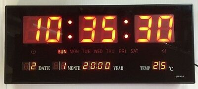 Beautiful Red Led Digital Wall Clock with Date Temperature 360x155mm