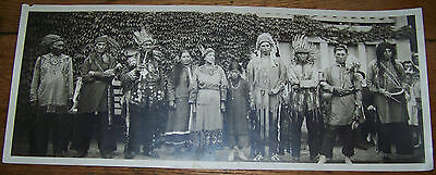 c1900 ANTIQUE INDIAN CHIEF SQUAW TRIBAL PANORAMIC PHOTO HG ESTABROOK NEWFIELD NY