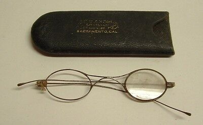 Antique Wire Rim Spectacles Glasses with Optician, Sacramento, California Case