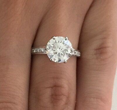 2.50 Ct Round Cut D/vs2 Diamond Solitaire Engagement Ring 14K White Gold