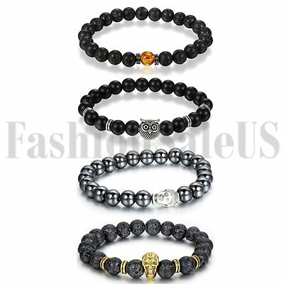 8mm Men's Women's Lava Buddha Beaded Owl Lucky Energy Wrist Mala Bracelets 4pcs