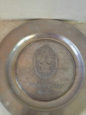 "Vintage RWP Wilton 10.5"" Pewter Dish Serving Plate Bowl Prince of Wales Grille"