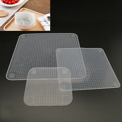 Clear Reusable Silicone Fresh Food Storage Wrap Seal Cover Stretch Cling Film AU