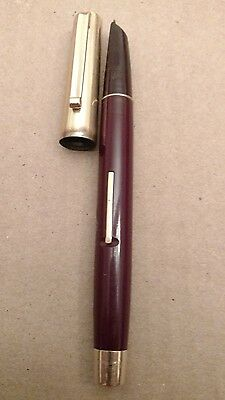 Vintage Eversharp Brown Fountain Pen 14K Solid Yellow Gold Cap Lever Butt