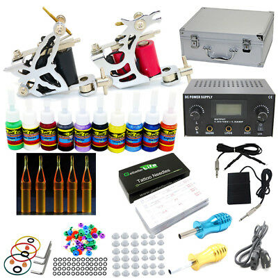 Starter Complete Tattoo Kit 2 Machines Guns 10 Color Inks Power Supply Set