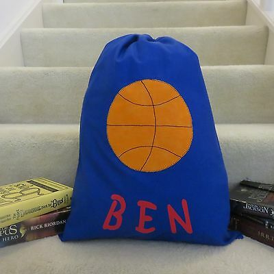 Child's/boys Personalised Name Library Bag /toy Bag - Basketball -
